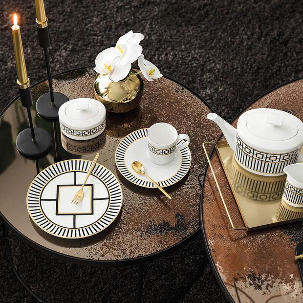 MetroChic coffee cup saucer, 18.5 cm diameter, white/black/gold, , large
