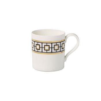 MetroChic coffee mug, 11 x 8 x 9 cm, white/black/gold