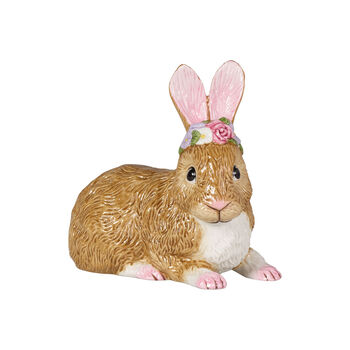 Easter Bunnies large lying bunny with floral wreath, brown/rose