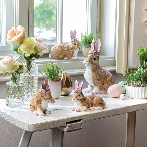 Easter Bunnies large lying bunny with floral wreath, brown/rose, , large