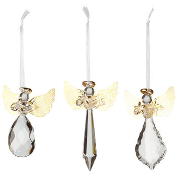 Winter Collage Accessoires Glass hanging ornament angel, set of 3 21x11,5x3cm