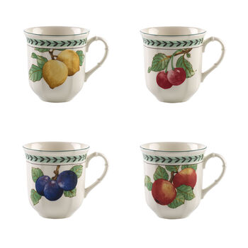 French Garden Modern Fruits jumbo mug 4-piece set