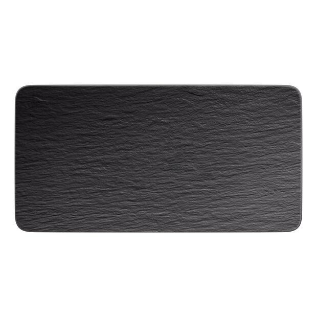 Manufacture Rock rectangular serving plate, black/grey, 35 x 18 x 1 cm, , large