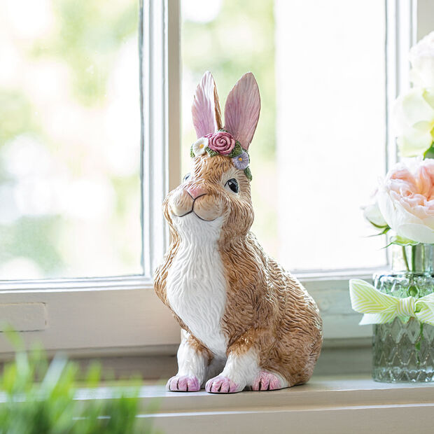 Easter Bunnies Bunny large, seated with flower wreath 14x9x19cm, , large
