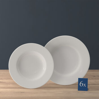 Twist White plate set, 12 pieces, for 6 people