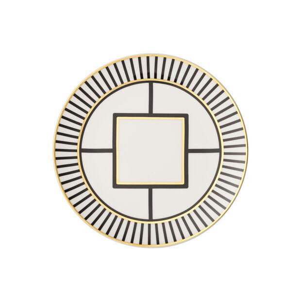 MetroChic dessert/breakfast plate, white/black/gold, , large