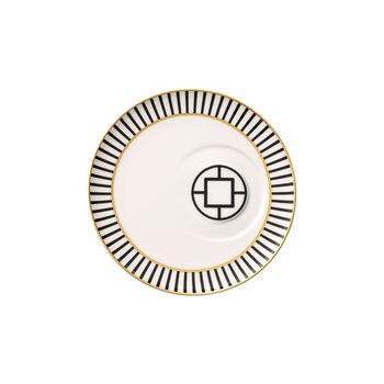 MetroChic coffee cup saucer, 18.5 cm diameter, white/black/gold