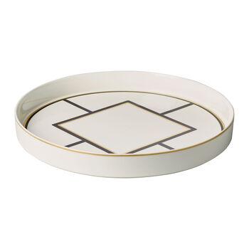 MetroChic serving/decorative bowl, 33 cm diameter, 4 cm deep, white/black/gold