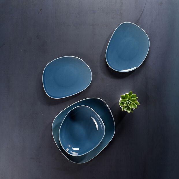 Organic Turquoise dinner plate 28 x 24 x 3cm, , large