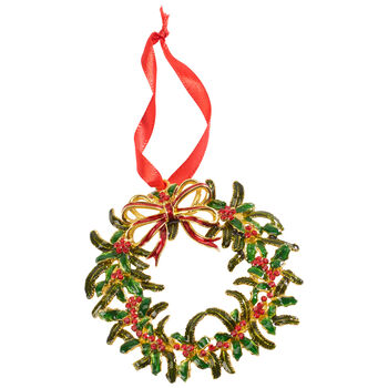 Winter Collage Accessories metal hanging ornament Christmas wreath, multicoloured, 12 cm