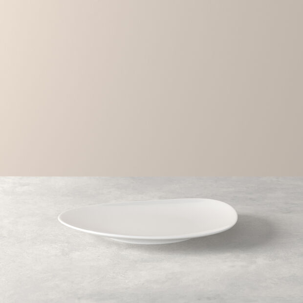 Organic White breakfast plate 21 x 17 x 2cm, , large