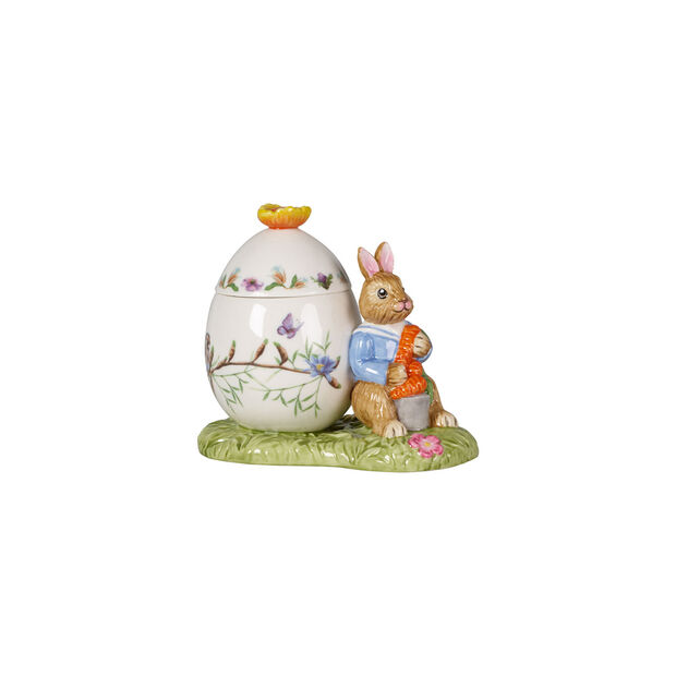 Bunny Tales Easter egg jar Max with carrot, 11 x 6.5 x 9.5 cm, multicoloured, , large
