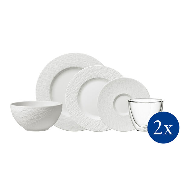 Manufacture Rock tableware set, 10 pieces, for 2 people, white, , large