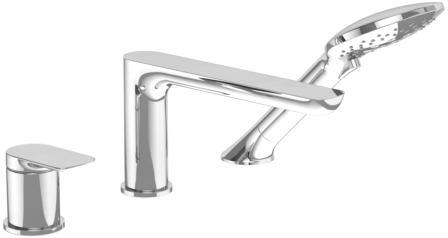O Novo Three Hole Single Lever Bath Mixer For Deck